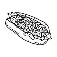 icône de rouleau de homard. style d'icône dessiné à la main ou contour doodle vecteur