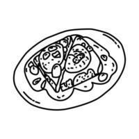 icône d'oeufs en meurette. style d'icône dessiné à la main ou contour doodle vecteur