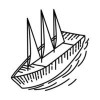icône gentille de bateau à voile. style d'icône dessiné à la main ou contour doodle
