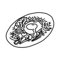 icône de salade lyonnaise. style d'icône dessiné à la main ou contour doodle vecteur
