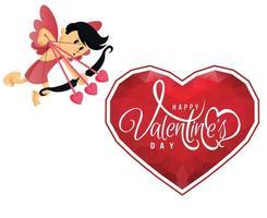 joyeuse saint valentin symbole d'angle vacances romantique. vecteur