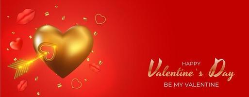 conception réaliste de fond de carte-cadeau de vacances de la saint-valentin avec forme de coeur doré 3d