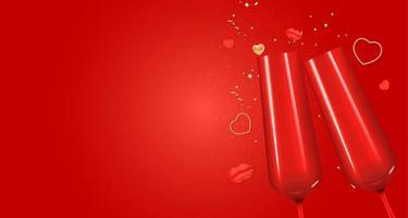conception réaliste de fond de carte-cadeau de vacances de la Saint-Valentin. modèle pour la publicité, le Web, les médias sociaux et les annonces de mode. affiche, flyer, carte de voeux, en-tête pour illustration vectorielle de site Web