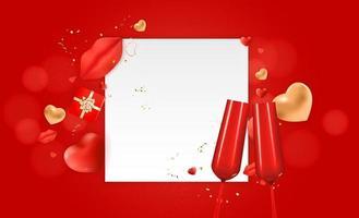fond de carte-cadeau de vacances saint valentin conception réaliste cadre blanc