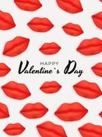 conception de fond de la Saint-Valentin avec des lèvres réalistes. modèle pour la publicité, le web, les médias sociaux et les annonces de mode. affiche, flyer, carte de voeux. illustration vectorielle