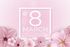 affiche internationale bonne fête des femmes 8 mars carte de voeux bannière de vente vecteur