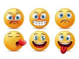 jeu de caractères émoticône visages souriants vecteur