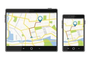 système de navigation par satellite GPS à l'écran vecteur