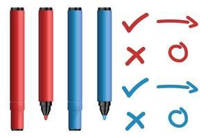 marqueurs rouges et bleus avec jeu de signes de croix et de tiques vecteur