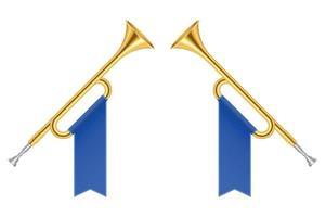 trompettes de corne d'or croisées vector illustration