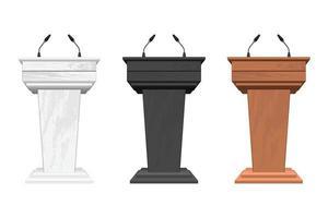 Tribune podium en bois avec illustration vectorielle de microphones isolé sur blanc