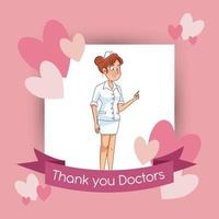 icône de personnage avatar infirmière professionnelle vecteur