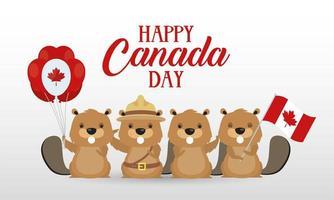 carte de célébration de la fête du canada avec castors vecteur