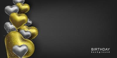 fond de joyeux anniversaire. or et argent ballons en forme de coeur et scintille. bannière d'invitation de vecteur.