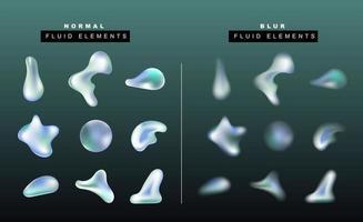 ensemble de vecteurs de goutte de liquide réaliste. effet fluide formes floues. sphère de gradient et bulles. objets isolés sur fond sombre pour bannières, affiches, cartes, flyers. vecteur