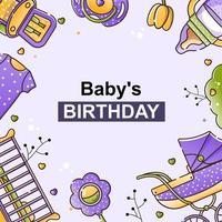 ensemble de vecteurs d'accessoires bébé pour le nouveau-né. berceau, chaise, poussette, bouteille, jouet et vêtements dans un style linéaire. fond pour invitation, métriques, cartes. vecteur