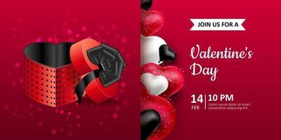 Joyeuse saint Valentin. invitation de carte postale de vecteur avec boîte d'emballage réaliste et ballons en forme de coeur. fond rouge, ballons noirs et blancs