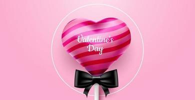 La Saint-Valentin. vecteur fond rose doux et mignon avec sucette de bonbons 3d réaliste. bannière pour le site ou les cartes postales