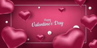 heureux la Saint-Valentin. bannière de vecteur avec des ballons à air rose en forme de coeur et de perles. place pour le texte, le cadre. illustration réaliste