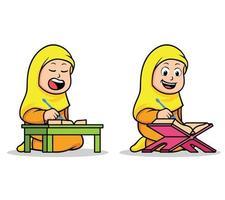 Les enfants de l'école islamique fille lisant le coran sacré vecteur