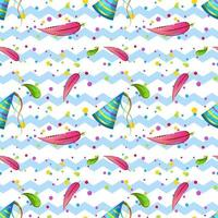 un motif enfants sans couture avec des plumes de flamant rose et des casquettes et confettis festifs. fond en zigzag. impression vectorielle pour papier peint, papier d'emballage et textiles