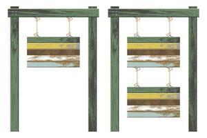 planches de bois suspendues avec des cordes vector illustration set