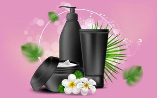 illustration réaliste de vecteur avec un blanc noir d'une bouteille de crème et de gel. frangipanier de fleurs hawaïennes tropicales. bannière pour la publicité et la promotion des produits cosmétiques. utiliser pour des affiches, des cartes