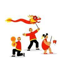 des jeunes joyeux célèbrent le nouvel an chinois vecteur
