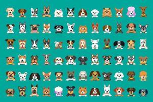 différents types de visages de chien de dessin animé de vecteur pour la conception.