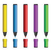 ensemble d & # 39; illustration vectorielle de marqueurs colorés vecteur