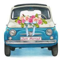 mignonne voiture vintage brillante aquarelle bleu et blanc, jour de mariage