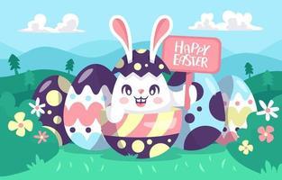 illustration de lapin de Pâques heureux vecteur