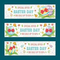 bannière de vente colorée de jour de pâques sertie d'oeufs vecteur