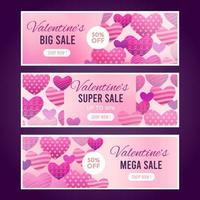 collections de bannières de vente de la saint-valentin vecteur