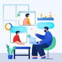 concept de maison de travail de réunion en ligne vecteur