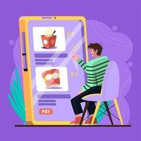livraison facile de nourriture intacte à partir d'un smartphone vecteur