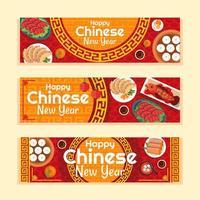 bannière de nourriture chinoise nouvel an vecteur