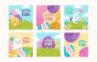 mignon petit lapin à la chasse aux œufs vecteur
