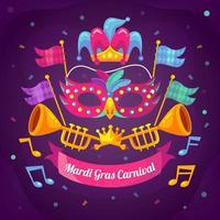 concept de carnaval plat mardi gras vecteur