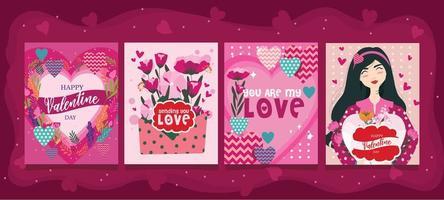 saint valentin avec carte ornement fleur vecteur