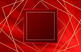 fond rouge avec des lignes nettes et un cadre carré centré vecteur