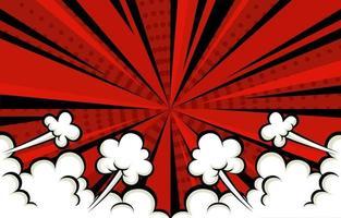fond rouge de style bande dessinée avec nuage vecteur