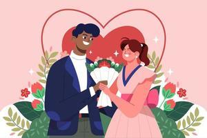 coule célébrant la saint valentin avec une fleur
