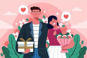 couple de la Saint-Valentin avec des fleurs vecteur