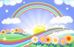 fond arc-en-ciel lumineux coloré avec illustration de champ de fleurs vecteur