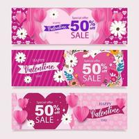 bannière offre spéciale pour la saint valentin vecteur