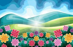 beau paysage de printemps vecteur