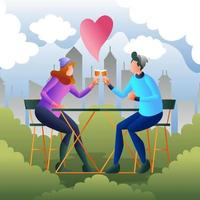 un jeune couple en train de griller des boissons pour célébrer la Saint-Valentin vecteur