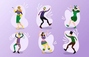 divers personnages du festival du mardi gras vecteur