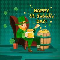 Leprechaun est assis confortablement dans sa chaise en appréciant la bière vecteur